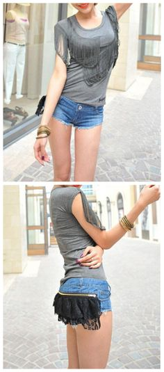 Sexy Fashion Style Low Waist Lace Splice Tassel Pockets Short Pants for wholesale denim|Wholesale Price USD $9.5 #wholesaledenim #womendenim By    www.clubwholesale.net