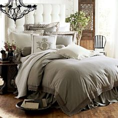 Lili Alessandra Theresa Flax Duvet Cover or Set | More here: http://mylusciouslife.com/luscious-bedrooms/