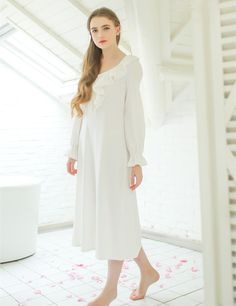 Cotton Sleepwear Lady Elegant Simple Solid Color Loose Nightgown $61.88 => Save up to 60% and Free Shipping => Order Now! #fashion #woman #shop #diy http://www.homeclothes.net/product/cotton-sleepwear-lady-elegant-simple-solid-color-loose-nightgown
