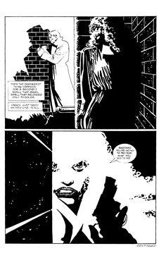 Página de Sin City de Fank Miller en dónde se ve reflejada toda la influencia del cine en su autor.