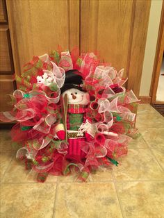 Decomesh snowman wreath shades of red/green/ white