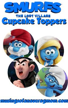 Smurfs: The Lost Village free printable cupcake toppers