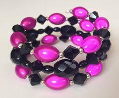 Fuscia Black and Silver Custom Coil by PeacocksandLeopards on Etsy, $23.00