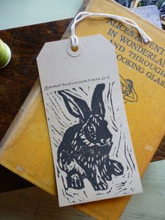 Rabbit print gift tags/labels (5-pack) on Etsy, $11.20