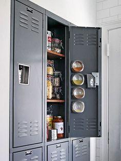 Metal locker used as a pantry