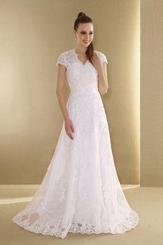 Modesto Vestidos de Novia de Corte princesa en Organza de Escote en V de Hasta el suelo de Cremallera