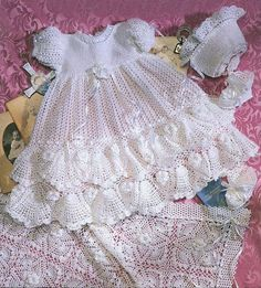 Crochet Precious Heirloom Christening Set Gown Outfit - Baby dress blanket and booties pdf e patternPrecious Heirloom Christening Sets, American School of Needlework Crochet & Knit Pattern Booklet 1241 RAREPrecious Heirloom Christening Sets Knit amp Crochet Baby Dress Pattern, Baby Dress Patterns, Gown Pattern, Baby Girl Crochet, Crochet Baby Shoes, Crochet Baby Clothes, Crochet For Kids, Crochet Patterns, Booties Crochet
