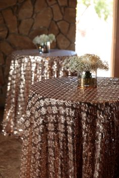 Blush Geometric Sequin Sheer Linens over Blush Dupioni Floor Length Cocktail Table Linens