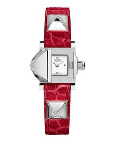 Hermes Medor Mini Watch with Diamonds & Red Alligator Strap Hermes Apple Watch, Hermes Watch, Fine Watches, Luxury Handbags, Stainless Steel Case, Luxury Branding, Neiman Marcus, Jewelry Watches, Leather