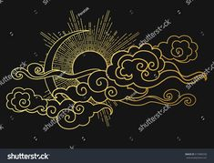 Find Sun Moon Cloudy Sky Decorative Graphic stock images in HD and millions of other royalty-free stock photos, illustrations and vectors in the Shutterstock collection. Boho Tattoos, Body Art Tattoos, Cloud Tattoo Sleeve, Witch Drawing, Cloud Drawing, Chinese Patterns, Tibetan Art, Norse Symbols, Oriental Style
