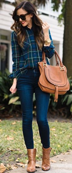 Dark Denim + Plaid Top With Pops Of Red Fall Street Style Inspo by Sequins & Things