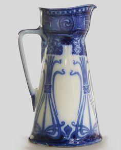 Royal Doulton pitcher (The evolution of Art Nouveau) Flow Blue China, Blue And White China, New Blue, Art Nouveau, Blue Dishes, Royal Doulton, Vintage Pottery, White Decor, Delft