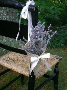 Khaki burlap pew / chair cone with tying ribbons...
