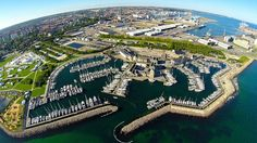 The harbour is a centre of several shops and a focus place for water sport activities for instance Søspejderne, Aarhus Vandski Klub (waterskiing) and three sailing schools. Denmark Tourism, Water Sports Activities, Aarhus, Tour Guide, City Photo, Sailing, Tours, Places, Nature