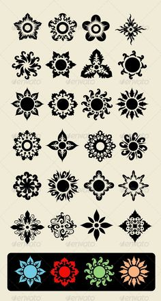 24 Flowers 24 floral element, for pattern or icon design…. 24 Flowers 24 floral element, for pattern or icon design. Each item is a group, easy to change color Created: GraphicsFilesIncluded: JPGImage Layered: No MinimumAdobeCSVersion: CS Tags: antique Vintage Blume Tattoo, Vintage Flower Tattoo, Flower Tattoo Designs, Vintage Flowers, Flower Tattoos, Flower Designs, Floral Flowers, Vintage Floral, Flower Illustration Pattern