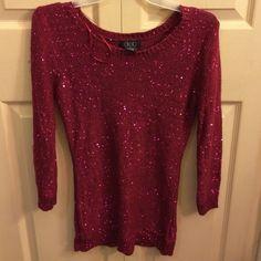 Burgandy sequin sweater Brand new. Never worn. Very pretty! Sequin sweater. Deb Sweaters