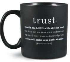 Christian Simple Faith Black Ceramic Mugs 16oz - Trust