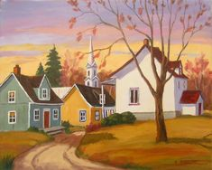 Avril au village Autumn Painting, Autumn Art, Christmas Scenes, Naive Art, Whimsical Art, Painting Inspiration, Art Pictures, Painting & Drawing, Landscape Paintings