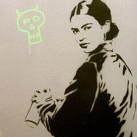 FRIDA FUTURA 2 Original Painting on Canvas 12 x 29 Artwork Pop Art Graffiti Inspired Acrylic and Spray Paint Portrait
