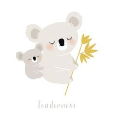 Affiche Koala : 42 x cm) - Zu Illustration Koala, Illustration Mignonne, Yellow Nursery Decor, Cartoon Drawings Of Animals, Baby Koala, Christmas Drawing, Cute Monsters, Baby Art, Illustrations And Posters