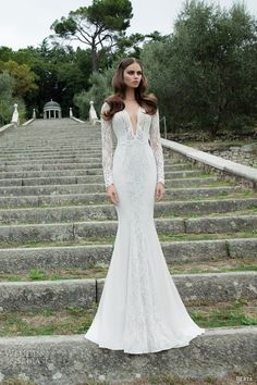 Lace long sleeve wedding dress - lace, deep v neck