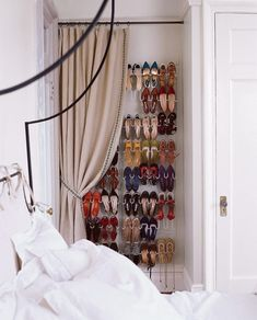 Pin for Later: 9 Shoe Storage Ideas That Don't Require Closet Space Concealed With a Curtain Turn an awkward alcove into a makeshift closet by adding a hanging shoe rack, curtain rod, and drapes. Wall Storage, Hidden Storage, Shoe Storage, Storage Spaces, Storage Ideas, Storage Solutions, Shoe Racks, Vertical Storage, Bedroom Storage