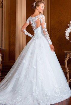 CAMERON - vestito da sposa con maniche lunghe,stilo principessa, tessuti pizzo e tulle - Sposamore