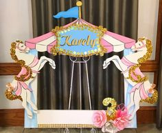 Circus Carnival Party, Carnival Birthday Parties, Unicorn Birthday Parties, Birthday Party Decorations, First Birthday Parties, Carousel Themed Birthday, Carousel Party, Circus Birthday, Baby Shower Photo Booth