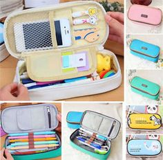 girls advaced pencil puches | Cute Girl's Canvas Pencil Case Pen Cosmetic Travel Makeup Bags 20 5x9 ...