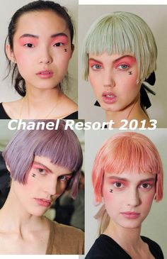 Runway Beauty: Pink Makeup   Velvet Chanel Logo Stickers at Chanel Resort 2013 Show