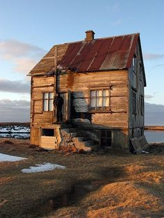 Little house, Iceland - cabin inspiration Abandoned Houses, Abandoned Places, Old Houses, Tiny Houses, Cabins And Cottages, Small Cabins, Cozy Cabin, Old Buildings, Cabins In The Woods