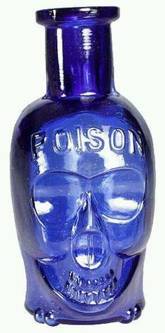 """The very rare 3 ½"""" 'middle' size skull poison (they come in 3 sizes - small one below). Embossed POISON on the forehead, and PAT APPL'D FOR on the back label panel near the base. Deep cobalt blue color, with embossed crossbones across the base (this is th Antique Glass Bottles, Bottles And Jars, Perfume Bottles, Antique Glassware, Liquor Bottles, Bleu Cobalt, Blue Bottle, Himmelblau, Vintage Bottles"""