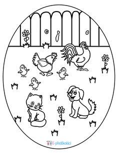 Omalovánka - zvířátka, mláďátka na dvorku