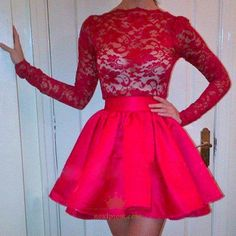 A Lines Red Homecoming Dresses Zipper-Up Long Sleeves Lace Scalloped-Edge Above-Knee Homecoming Dress Short Red Prom Dresses, Red Lace Prom Dress, Red Homecoming Dresses, Prom Dresses Long With Sleeves, Trendy Dresses, Short Prom, Dress Long, Graduation Dresses, Tulle Dress