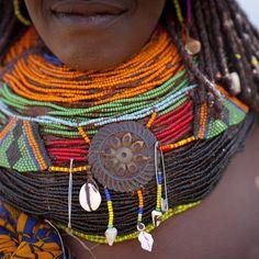 Africa | Detail of a Mwila woman's Vilanda necklace.  Chibia area, Angola | © Eric Lafforgue