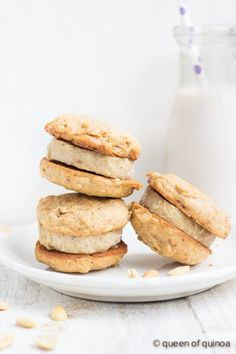 Peanut Butter & Roasted Banana Ice Cream Sandwiches - made with quinoa cookies and a healthy vegan ice cream