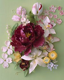 1. Sweet pea 2. Tulip 3. Cherry blossoms 4. Cymbidium orchids 5. Ranunculus 6. Hydrangea 7. Lily 8. Hellebore 9. Dogwood 10. Lily-of-the-valley 11. Peony