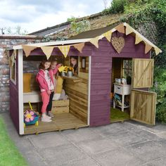 The Dixie Duo Traditional Kids Wooden Playhouse comes with its own veranda so children can play outside whatever the weather. Visit Shedstore for our fantastic range of playhouses. Kids Wooden Playhouse, Playhouse With Slide, Garden Playhouse, Childrens Playhouse, Playhouse Outdoor, Garden Toys, Garden Sheds, Sheds Direct, Buy Shed