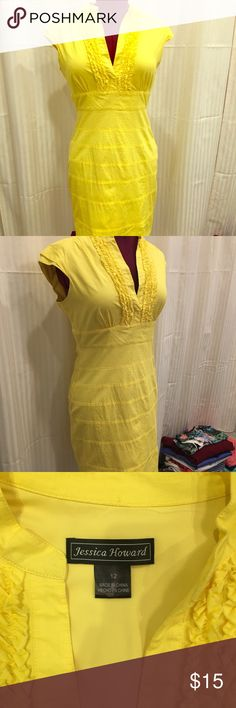 Bright Yellow Dress Fitted - zips down side - bright yellow - hits at knee — if yellow is your color, then this is your dress :) Jessica Howard Dresses