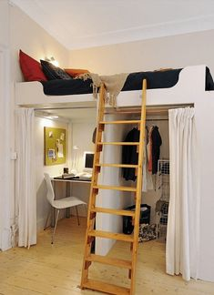 Do this above the washer and dryer at camp in place of bunk and single beds to make room for a full bed.