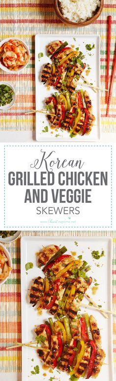Korean Grilled Chicken and Veggie Skewers – bring authentic cooking home with a simple marinade, tender chicken and colorful vegetables. It only takes a few minutes to make this meal – and is sure to become a family favorite.