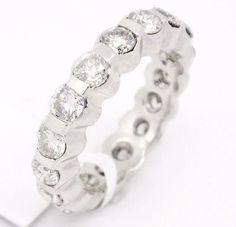 Traditional Platinum,SI1-SI2 G-H 2.22tcw Diamonds Bezel Set Eternity Band Ring,6