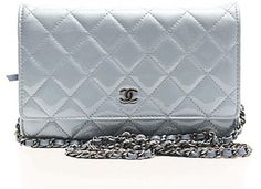 Chanel Pre-Owned Chanel Blue Patent Leather WOC Wallet On Chain