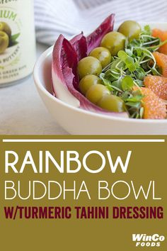 A colorful & healthy bowl for lunch, dinner or in-between. Tahini Dressing, Buddha Bowl, Lunch Time, Turmeric, Colorful, Dinner, Fruit, Vegetables