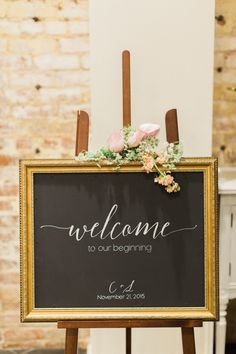 Sweet chalkboard calligraphy wedding sign: http://www.stylemepretty.com/little-black-book-blog/2016/03/18/whimsical-summer-wedding-at-the-estate-on-second/ | Photography: Koman Photography - http://komanphotography.com/