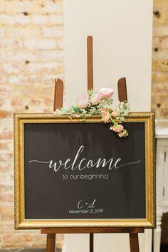 Sweet chalkboard calligraphy wedding sign…