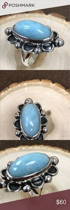 Ring Ring larimar and silver 9.50 Mexican handmade Jewelry Rings