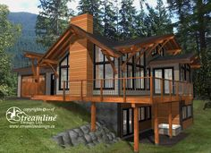 This elegant three story timber frame log home is a great family home for year r. - This elegant three story timber frame log home is a great family home for year round living. A Frame House Plans, House Plan With Loft, Cabin House Plans, Basement House Plans, Mountain House Plans, Cabin Plans With Loft, Mountain Houses, Log Cabin Floor Plans, Rustic House Plans