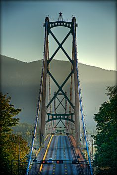 Lions Gate Bridge, Vancouver, BC   Where I grew up, Stanley Park was part of my backyard and my dad drove thru that park and over this bridge to work everyday.