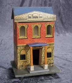 "11"" (28 cm.) Early 20th Century Wooden Dollhouse in Petite Size 300/500"
